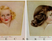 Vintage Breck Shampoo AD Pretty Woman's Profile Ladies Home Journal 1950 1954 Lot Of 2
