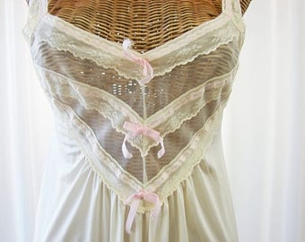 Say Lu Nightgown Cream Ivory Full Length Sheer 34 Bust