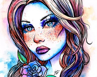 Watercolor Freckles Art Print - 5x7, 8x10, or 11x14 - Colorful Lowbrow Watercolour Tattoo Girl With Rose Art Print