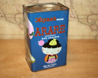 Vintage Arare Japanese Rice Cracker Tin - item #2294