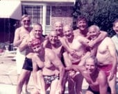Vintage Photo, 1960's Pool Party, Color Photo, Found Photo, Vernacular Photo, Snapshots, Shirtless Men in Bathing Suits, Humor AUGUSTINE0676