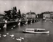Vintage Photo, Tour Boat on Lake Geneva, Geneva Switzerland, Black & White Photo, Travel Photo, Vintage Photo, Found Photo  *AUGUSTINE0366