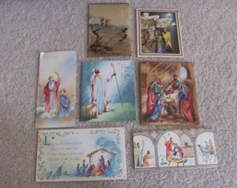 Lot of 7 Used Vintage Antique Retro Greeting Cards - Circa 1950s - Christmas (Lot #18A)
