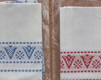 Pair of Red and Blue Tattenbatlens Fabric