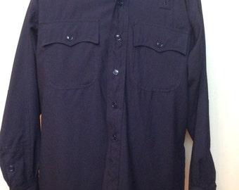 Vintage 1960s - 1970s Clifton Policeman Shirt Police Shirt Dark Navy Blue size XL - XXL