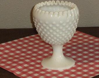 Vintage Hobnail Milk Glass Pedestal Dish