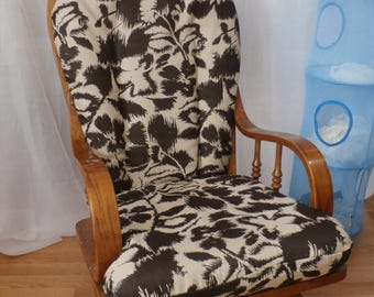 Nursery Glider Rocker SlipCover -Brown Floral  Covers for your cushions
