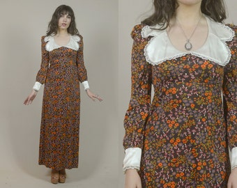 Babydoll Dress 60s Floral Maxi Dress MUSHROOMS Peter Pan Collar Satin Lace Cuffs Brown Long Sleeve 1960s Psychedelic / Size XS S Extra Small