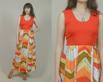 70s Maxi Dress Graphic Print Orange Geometric Absract 1970s Sundress Hippie Mod Psychedelic Empire Waist / Size M Medium