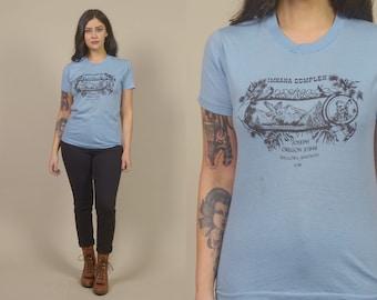 80s Tshirt Native American IMNAHA Joseph Oregon Indian 1980s Soft Thin Tee Blue Unisex / Size M Medium