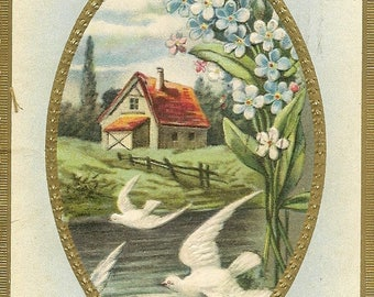 Vintage Birthday Postcard White Doves Country Cottage By the Lake Forget-me-Nots Embossed Antique Samson Bros Birthday Postcard 1911