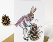 Christmas card of a winter Christmas rabbit in a striped scarf. Glittered pinecone with candy canes. Winter season. Christmas card for kids