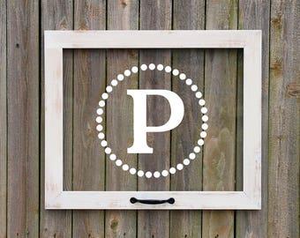 Farmhouse Window, Customized Letter with dots, Faux window, anniversary gift, farmhouse wall art, monogram window, housewarming, wedding