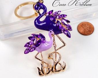 Rhinestone Purple Enamel Flamingo Crystal Key Chain Key Ring Keychain B15