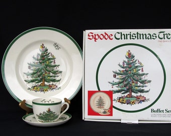 Vintage Spode Christmas Tree 3 Piece Buffet Set Made in England S3324