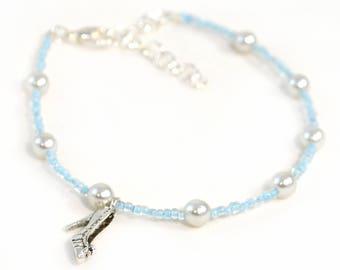 Cinderella Charm Anklet - Slipper Charm - Cinderella Anklet - Light Blue