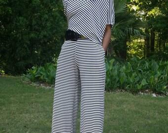 Off The Shoulder Jumpsuit Black and White Stripe