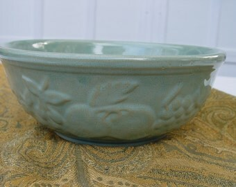 Vintage Stoneware Sage Green Mixing Serving Bowl USA with Cherry Grape Apple Fruit Pattern