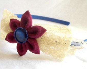 Cute Lace Bow Headband with Kanzashi Flower Burgundy Cream Blue