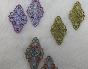 Earring or Jewelry Painted Findings Fancy Metal Connectors for Earrings or Assemblage Filigree Findings Olive Green Lavender Scrollwork