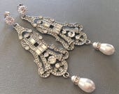 Long Rhinestone Earrings with Pearl teardrop Art Deco style in silver tone Great Gatsby Earrings bridal wedding jewelry