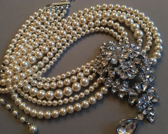 Audrey Pearl Necklace with Rhinestone Brooch 5 strands Swarovski Pearls in graduated pearl sizes Cream Ivory or White Holly Golightly bridal