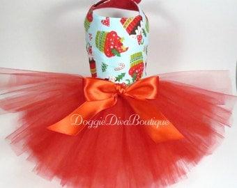Dog Dress, Dog Tutu Dress, Holiday Cupcakes, Holiday Dog Dress, XXS, XS, Small, Medium