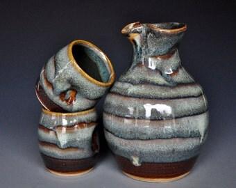 20% Off Sake Set for 2 Handmade Ceramic Pottery A