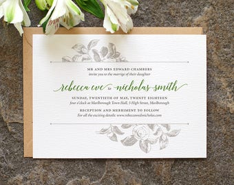 Botanical Wedding Invitation / 'Vintage Rose' Modern Calligraphy Simple Wedding Invite  / Sage Green and Grey or Custom Colours / ONE SAMPLE