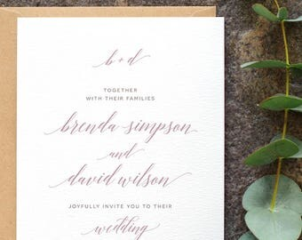 Clean Classic Wedding Invitation / 'Modern Calligraphy' Elegant Minimal Wedding Invite / Dusty Lilac Mauve / Custom Colours / ONE SAMPLE
