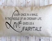 Wedding Pillow - New Couple Gift - 16 x 20 Linen with Zipper - Burlap Pillow - Newlywed - Housewarming for New Couple - Fairytale