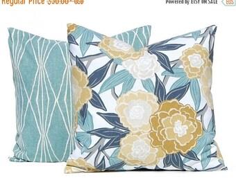 15% Off Sale Decorative Pillow Covers - Aqua Pillows - Sofa Pillow Covers - Aqua Diamonds and Floral - Dark Gray, Gold and Aqua - Throw Pill