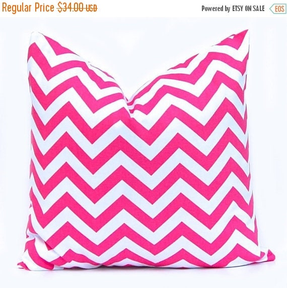 30% Off Sale Chevron Throw Pillow Covers Accent Pillows Cushion Covers 20 x 20 Inches - Hot Pink Zig Zag  Chevron on White
