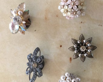 Vintage costume jewelry magnets   Assemblage refrigerator magnets   Vintage repurposed magnets   Set of 5 Magnets