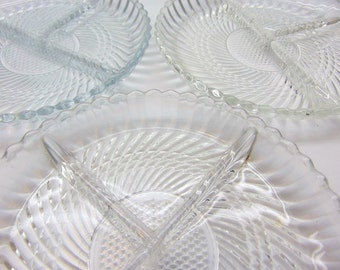 Vintage Divided Glass Dishes, Set of 4 Divided Serving Trays