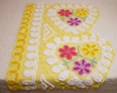 Sunny Yellow with Bright Flowers Plush Vintage Chenille Bedspread Fabric - Large Piece with 6 Flowers
