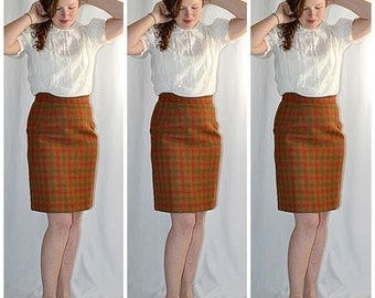 Vintage 1960s Rust and Olive Plaid Wool Pencil Skirt 28 Inch Waist