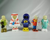 Vintage Burger King Kids Club Toys Glo-Force 1996 Set of 5 Astronaut Doctor Diver Safari Ski 90s Toys