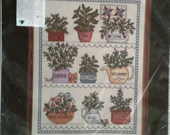 Herbal Window Counted Cross Stitch Kit Janlynn 50-546 Herb Garden Embroidery