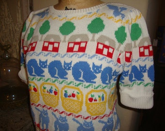 Vintage Kitty Cat Fruit Baskets Red House Print S/S Sweater