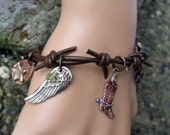 Hand made leather barbed wire western themed cowgirl bracelet