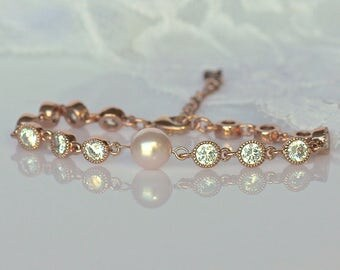 Flowergirl Bracelet, Rose Gold Crystal Bracelet, Pearl & Crystal  Bridesmaids Bracelet, LIZA