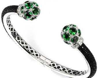 GENUINE Exotic Stingray Black Polished Leather, Green Amethyst, CZ, Bendable Cuff Bracelet 7""