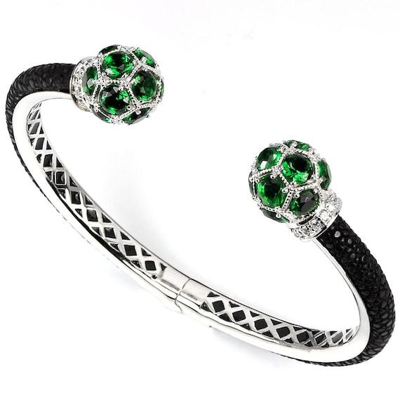 "GENUINE Exotic Stingray Black Polished Leather, Green Amethyst, CZ, Bendable Cuff Bracelet 7"""
