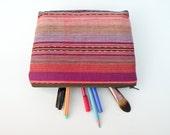 Guatemalan Fabric Bag - Desert Sunset - Makeup Bag - Cosmetic Bag - Handwoven - Southwestern Accessory - Zipper Pouch