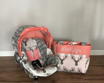 2pc Fawn in the Tulip stag deer fabric gray arrows & Coral carseat cover with minky dot strap covers and Diaper Bag monogrammed