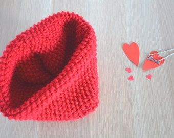 Knit cowl valentine gift neck warmer scarf red wool cowl winter accessories