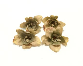 4 Taupe Beige Delphinium Blossoms - Smaller Size - Artificial Flowers, Silk Flowers, Hair Accessories, Wedding, Millinery, Embellishment