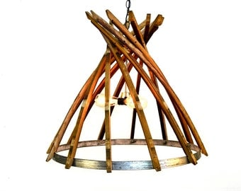 "Wine Barrel Chandelier - CRAFTSMAN - ""Botiga"" - 100% recycled"