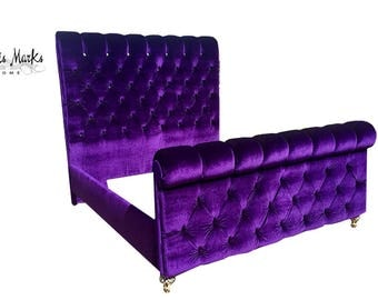 King Sleigh Bed Tufted Purple Velvet Extra Tall Channel Tufted Rolled Headboard Footboard Crystal Tufted Tempurpedic Frame BY CUSTOM ORDER